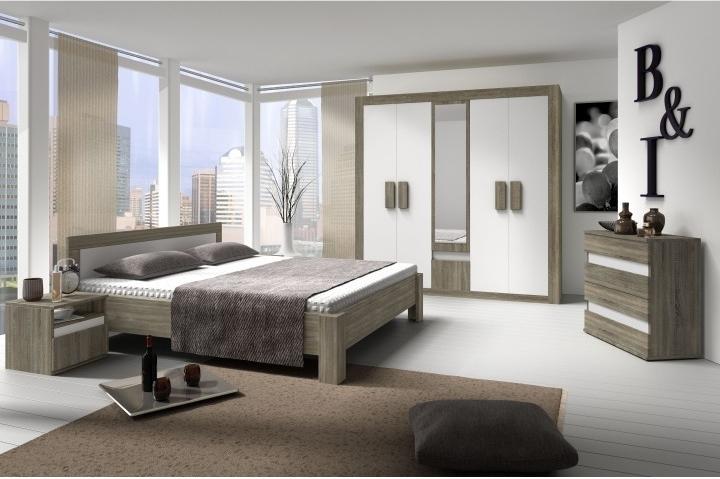 Spálňa, skriňa + posteľ + 2 nočné stolíky, dub sonoma trufel/biela, MEDIOLAN