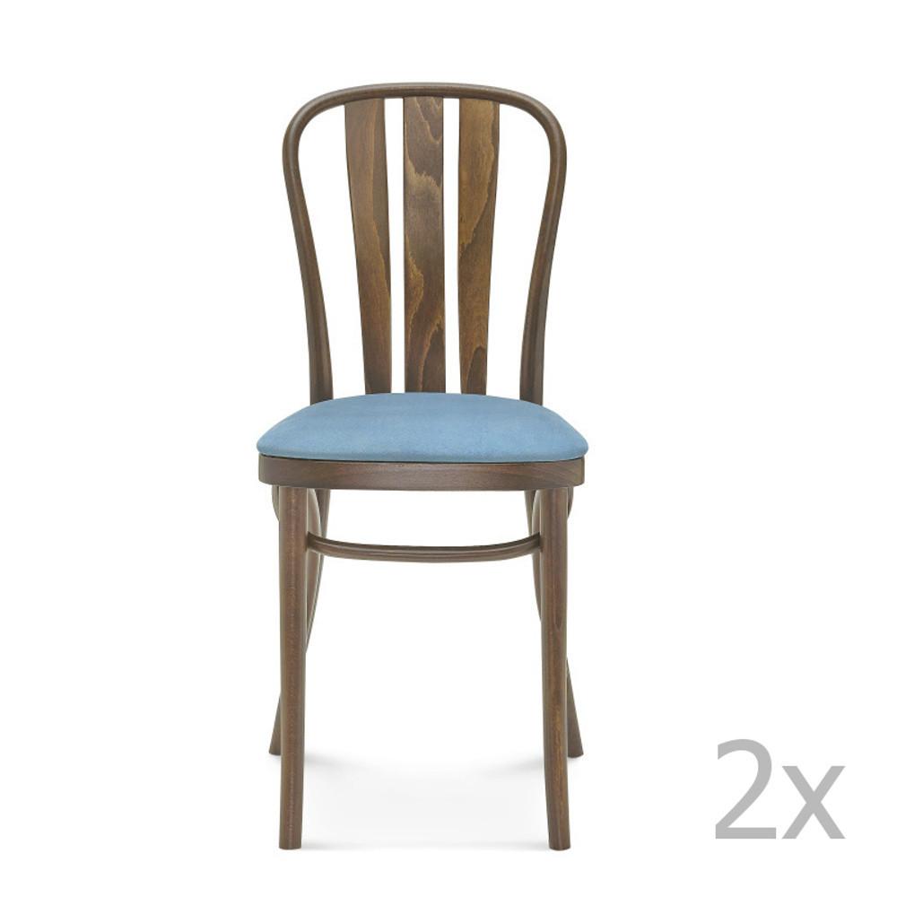 Sada 2 drevených stoličiek s modrým čalúnením Fameg Jorgen