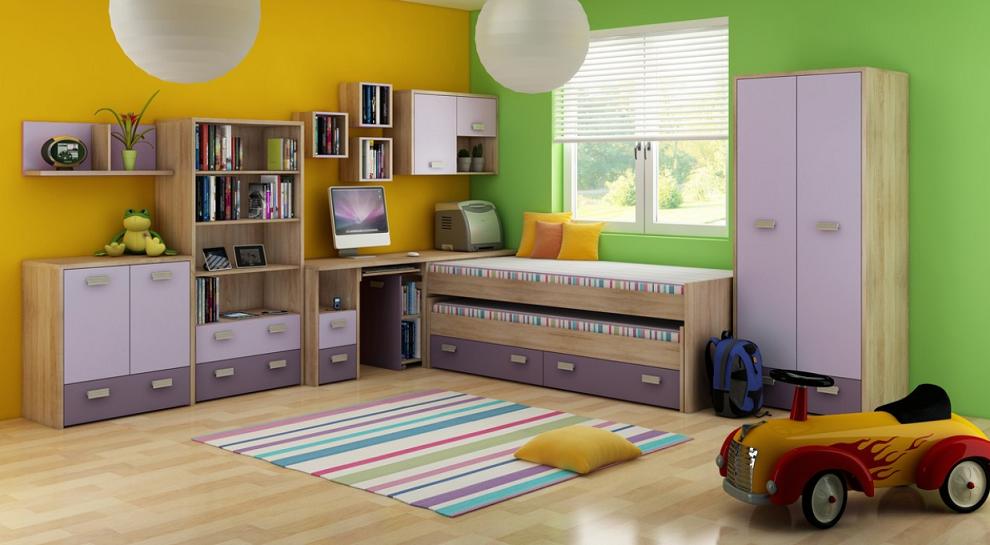 Detská izba KITTY 1   Farba: Dub sonoma svetlá / levanduľa / fialová