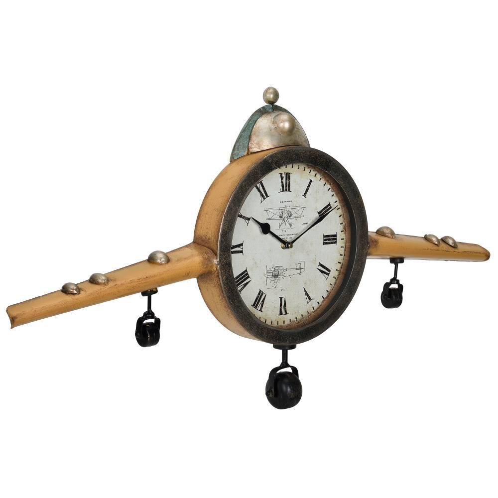 [en.casa]® Nástenné hodiny tvar starého lietadla - analógové - 86 x 6 x 44 cm - farebné – sklo