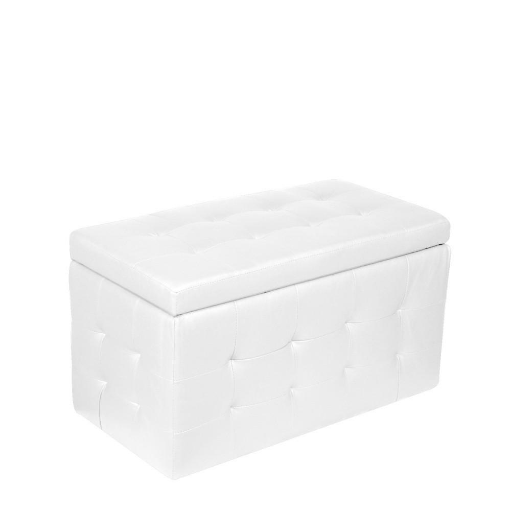 Biela taburetka s úložným priestorom Esidra Multi, 84 x 49 cm