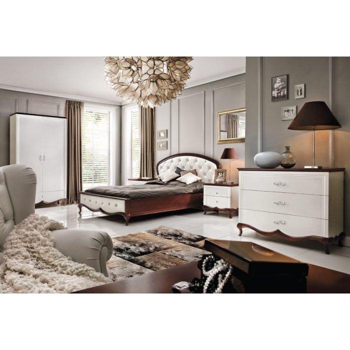 TARANKO MILANO spálňa - biely vysoký lesk / mahagón