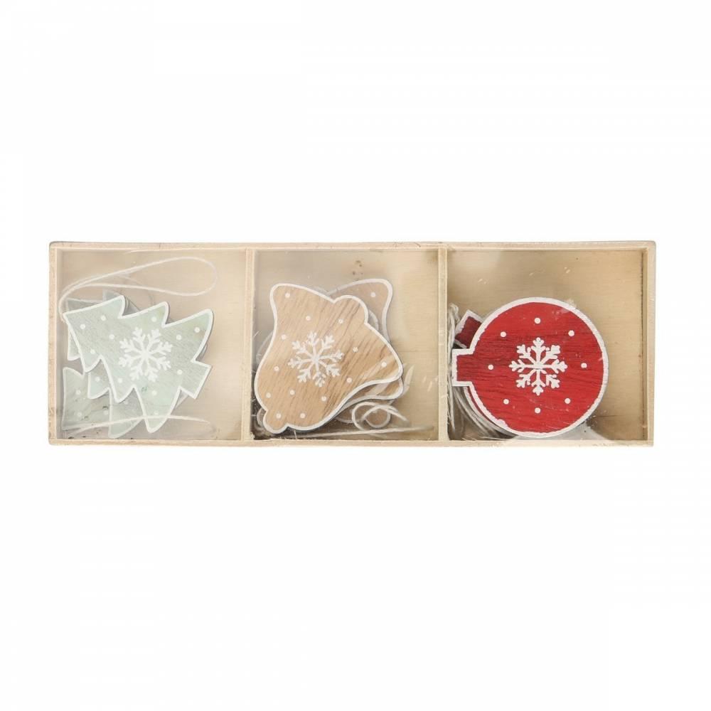 Altom Sada drevených vianočných ozdôb Mix 9, 9 ks