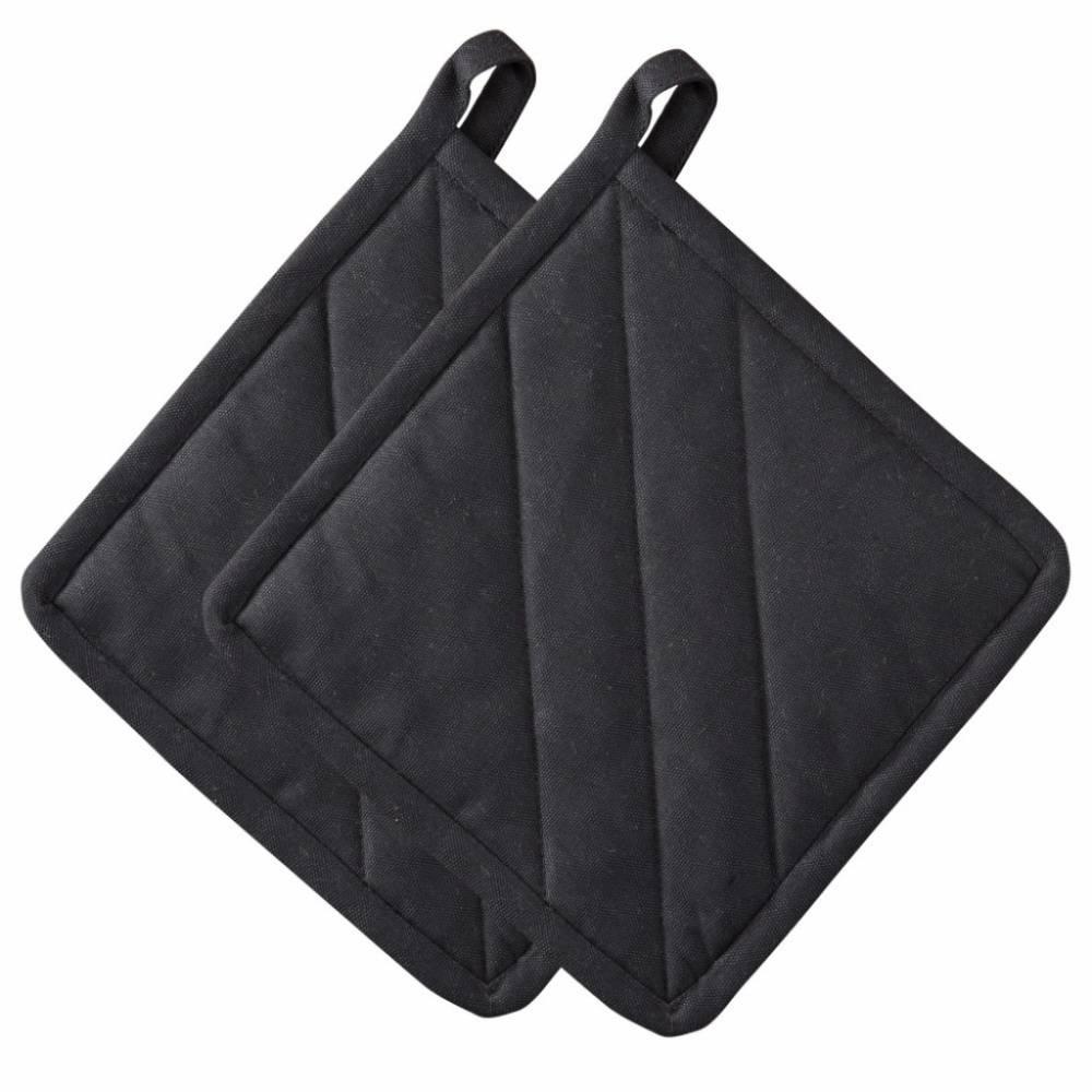 Kuchynské chňapky 20 x 20 cm čierne 2 ks