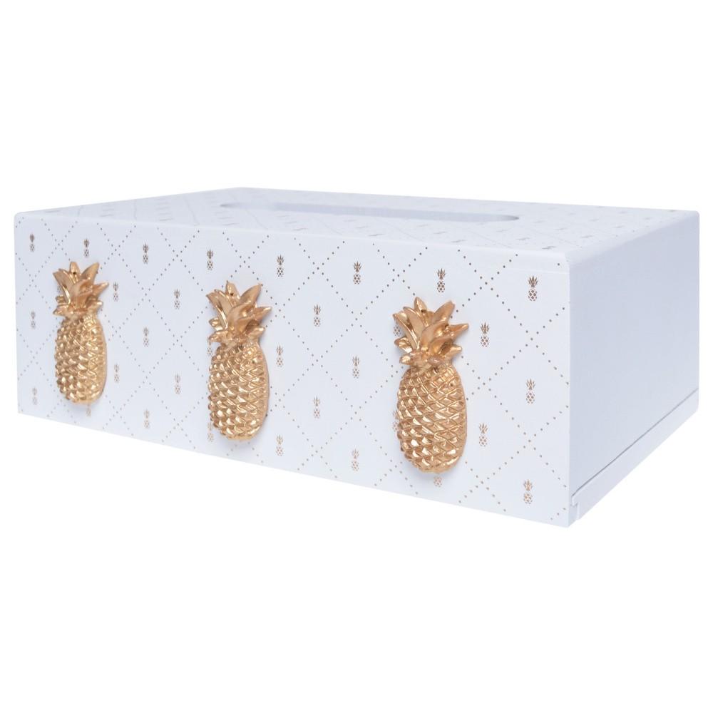 Biela drevená škatuľa na vreckovky Ewax Ananas, 24×14×8 cm