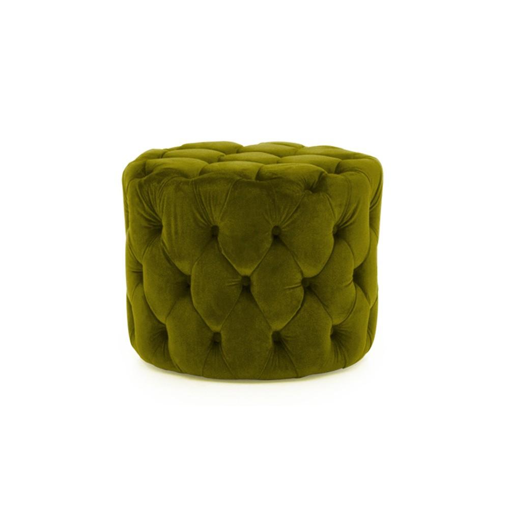 Zelená podnožka zo zamatovým poťahom VIDA Living Perkins, ø 55 cm