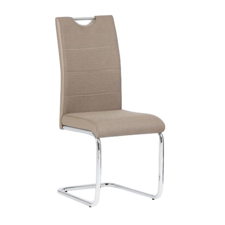 Stolička, ekokoža béžová/béžová látka + chróm, IZMA