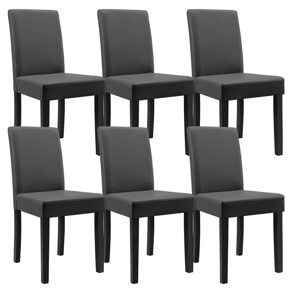 [en.casa]® Sada štýlových čalúnených stoličiek - 6 ks - tmavo sivé
