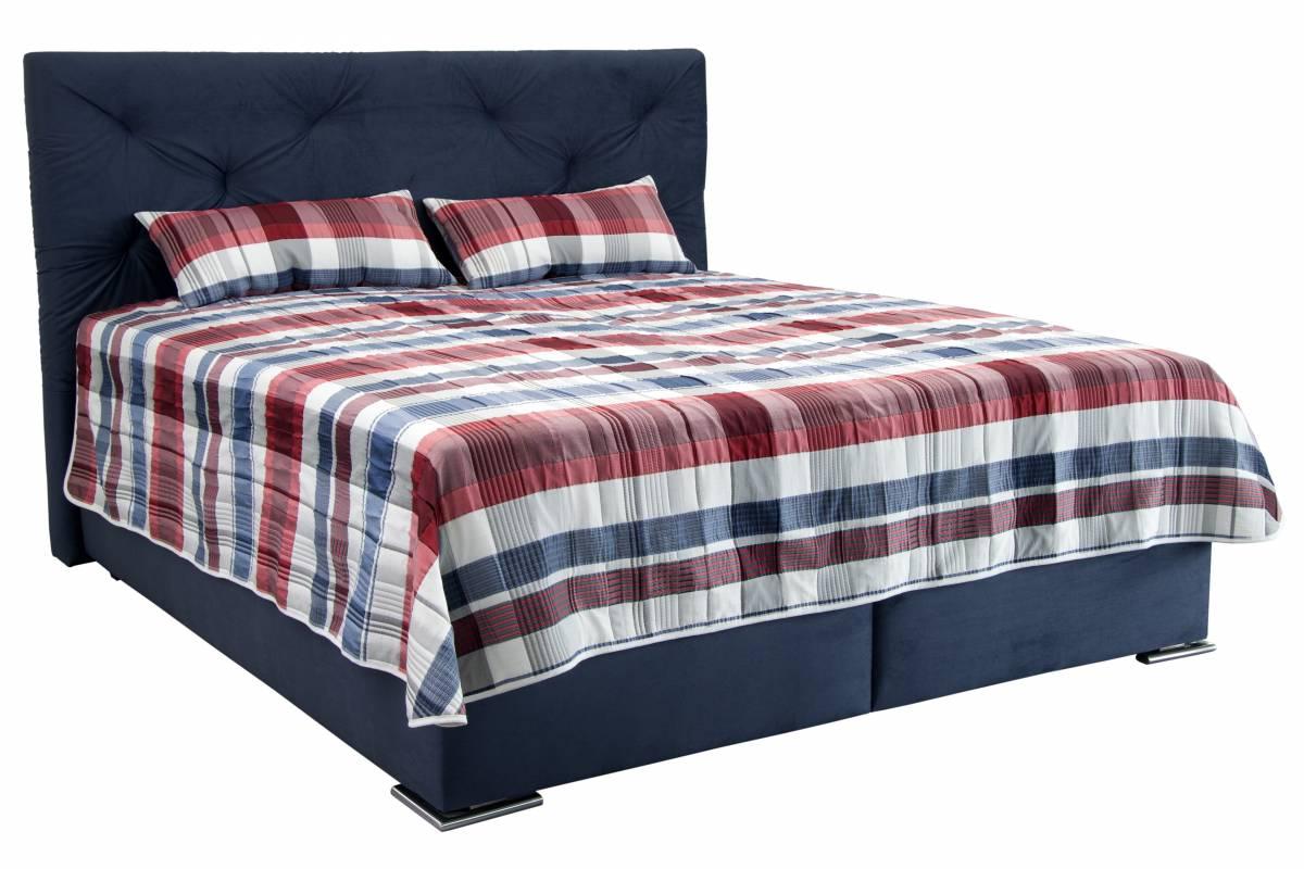 Manželská posteľ 180 cm Blanár Chicago (modrá) (s roštom a matracom NELLY PLUS)
