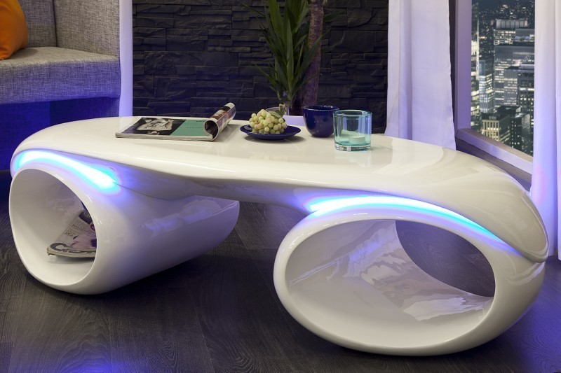 Konferenčný stolík FUTURE s LED - biela