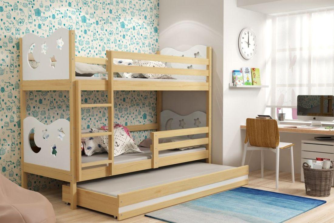 Poschodová posteľ KAMIL 3 + matrac + rošt ZADARMO, 90x200, borovica/biela