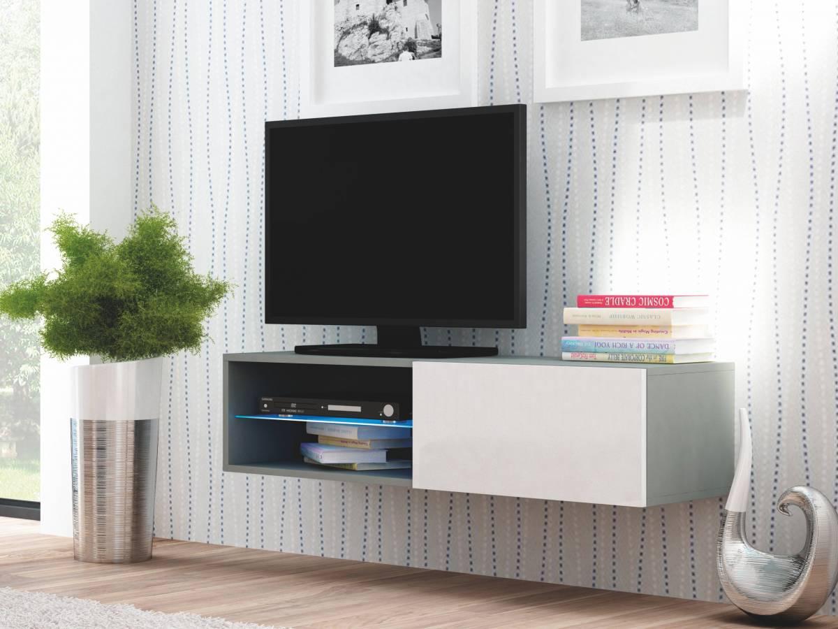 TV stolík/skrinka Livo RTV-120W (sivá + lesk biely)