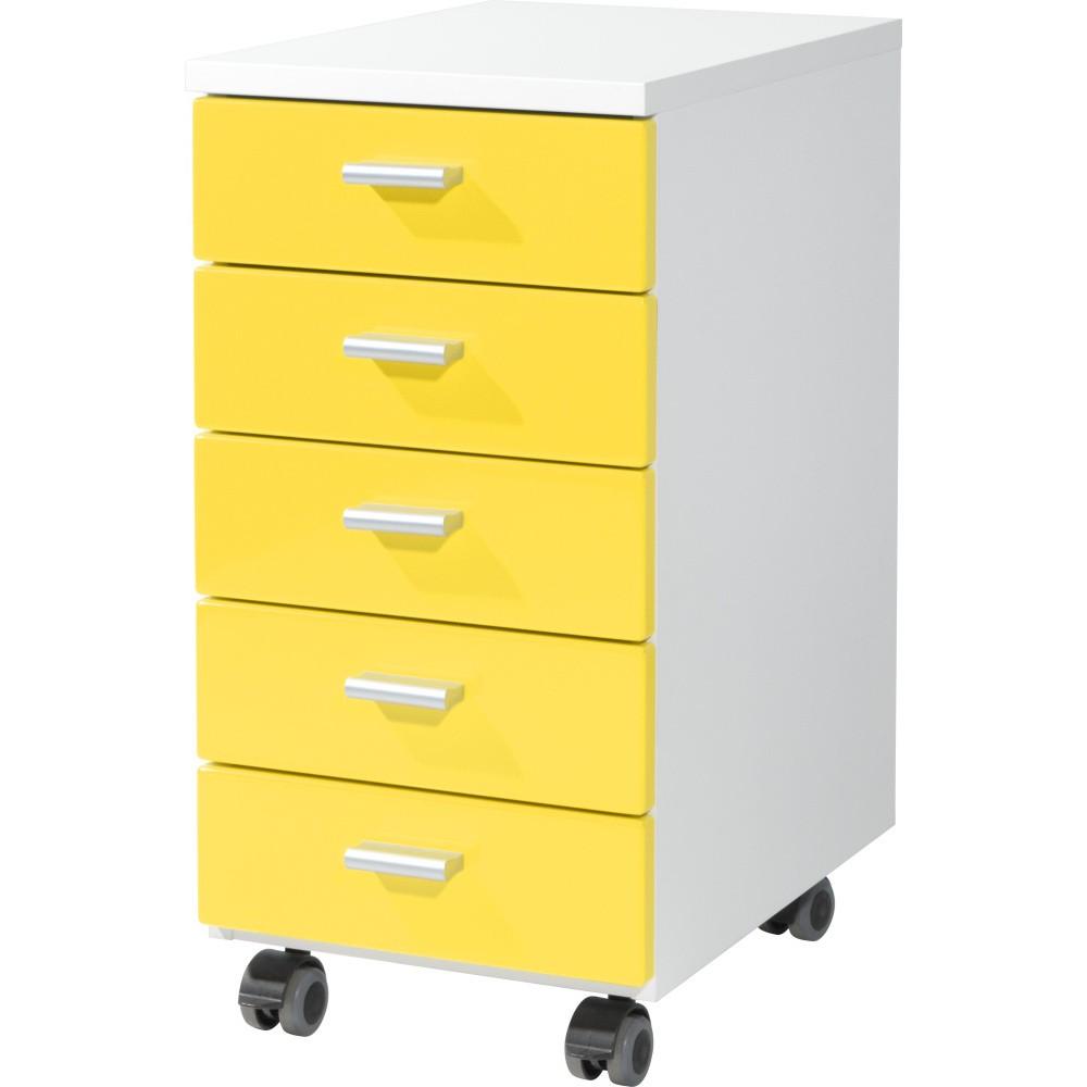 Žltá skrinka na kolieskách Germania Rolling, 28×57 cm