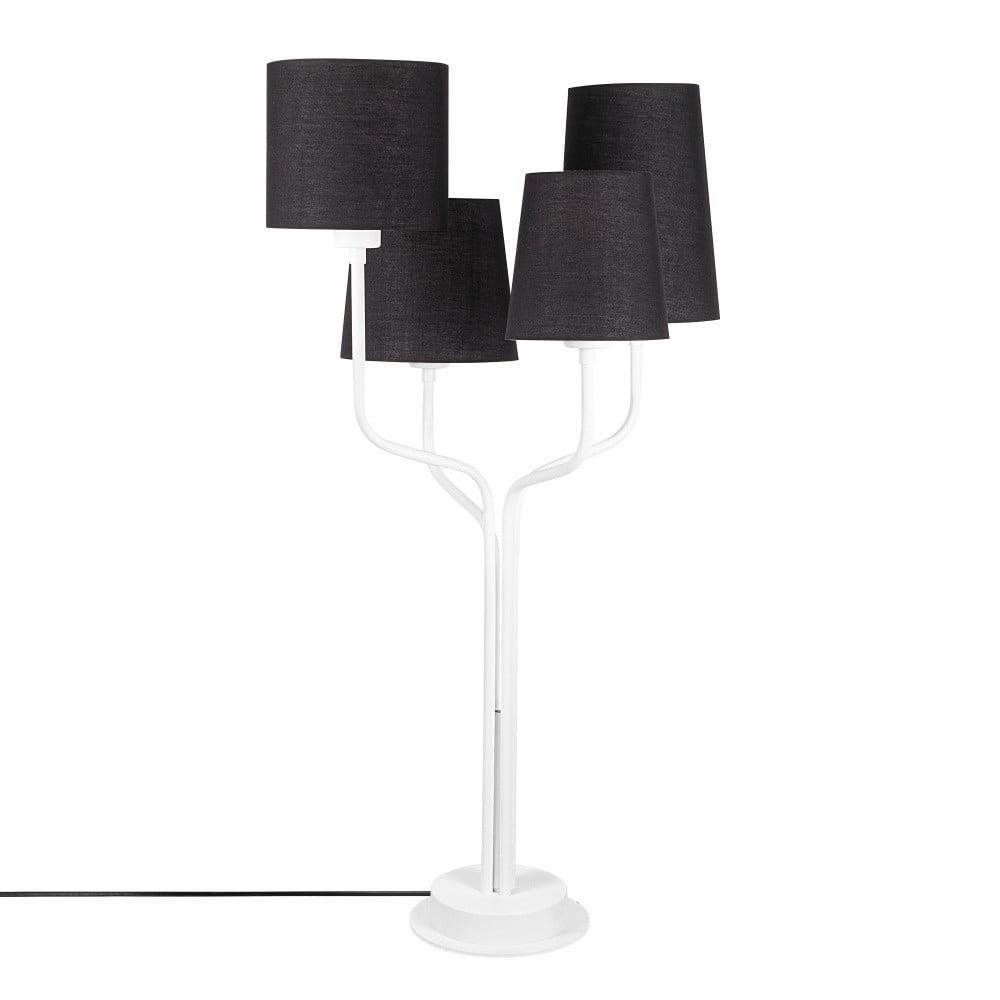 Biela kovová stolová lampa s čiernymi tienidlami Opviq lights Aposto
