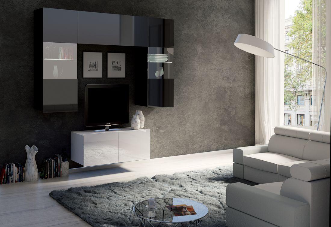 Obývacia zostava BRINICA NR10, čierna/čierny lesk + biela/biely lesk + modrý LED
