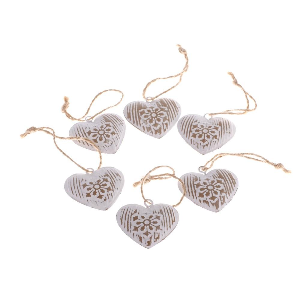 Sada 6 dekoratívnych závesných sŕdc Dakls Hearts