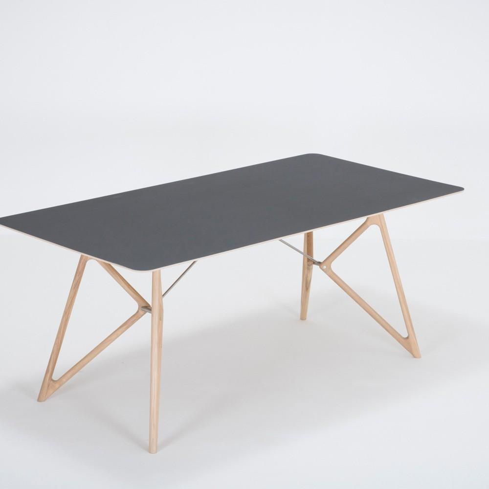 Jedálenský stôl z masívneho dubového dreva s čiernou doskou Gazzda Tink, 180×90cm