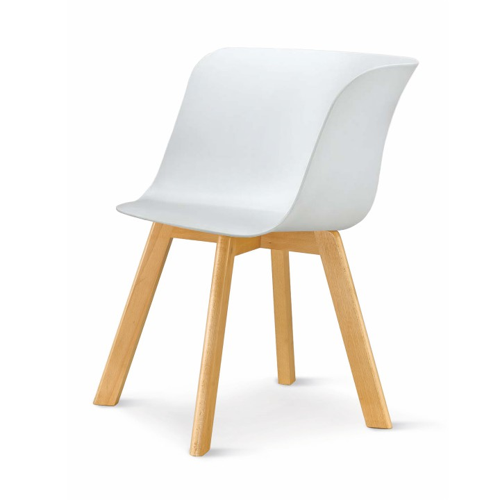 Stolička, plast+drevo buk, biela, LEVIN