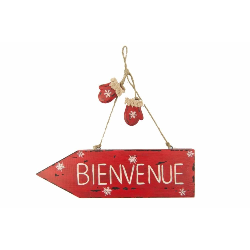 Červená dekoratívna ceduľa Antic Line Bienvenue
