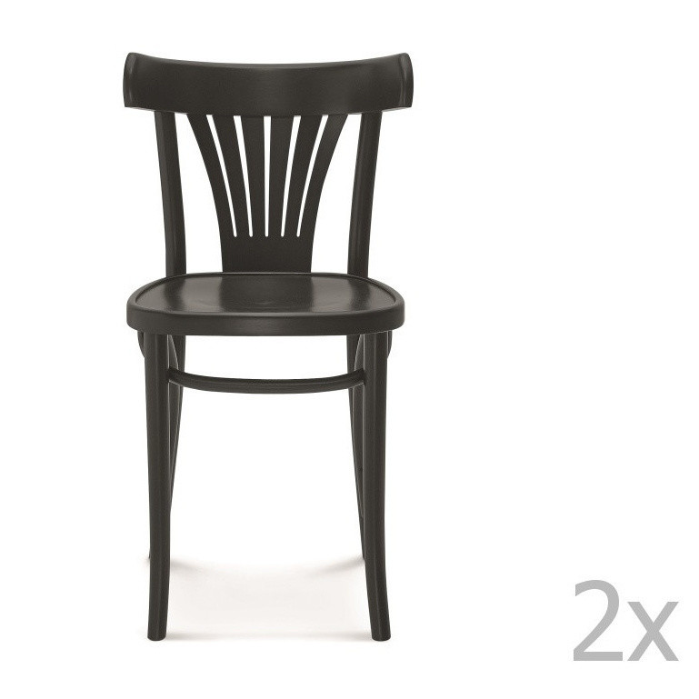 Sada 2 čiernych drevených stoličiek Fameg Mathias