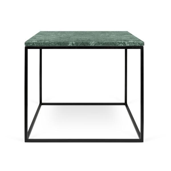 Zelený mramorový konferenčný stolík s čiernymi nohami TemaHome Gleam, 50cm