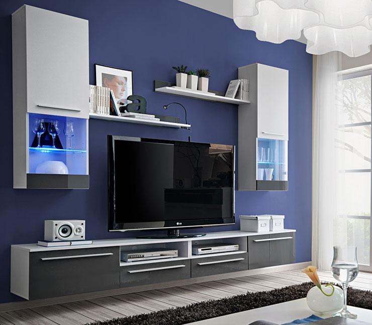 Obývacia stena EVITA s LED, alpský lesk