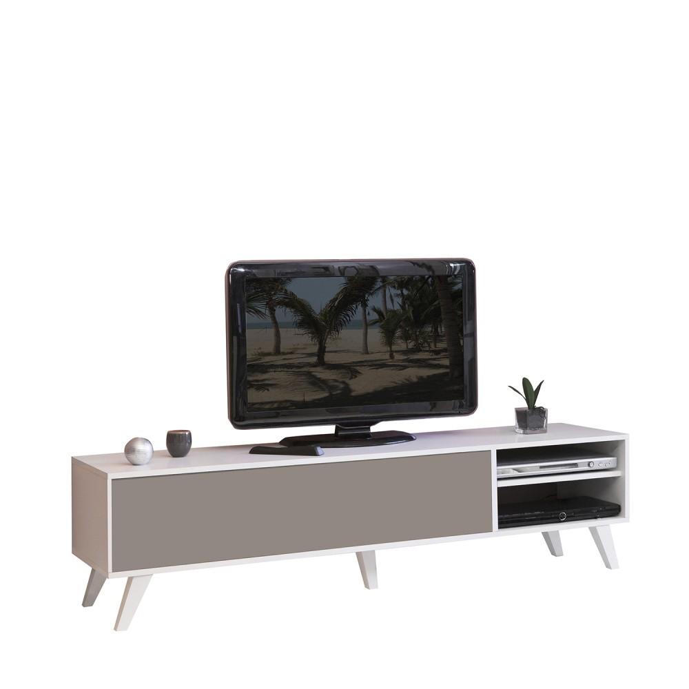 Hnedo-biely televízny stolík s bielym korpusom Symbiosis Prism
