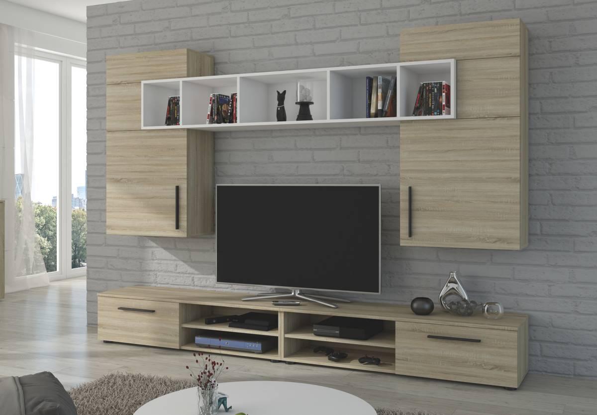 Moderná obývacia stena BELA, dub sonoma/biela