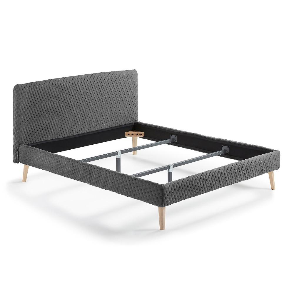 Tmavosivá dvojlôžková čalúnená posteľ La Forma Lydia Dotted, 190×150cm