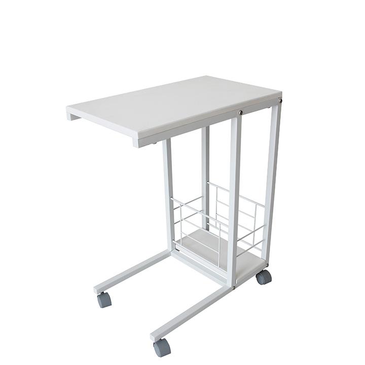 TEMPO KONDELA Príručný stolík na kolieskach, biela, CARMEL