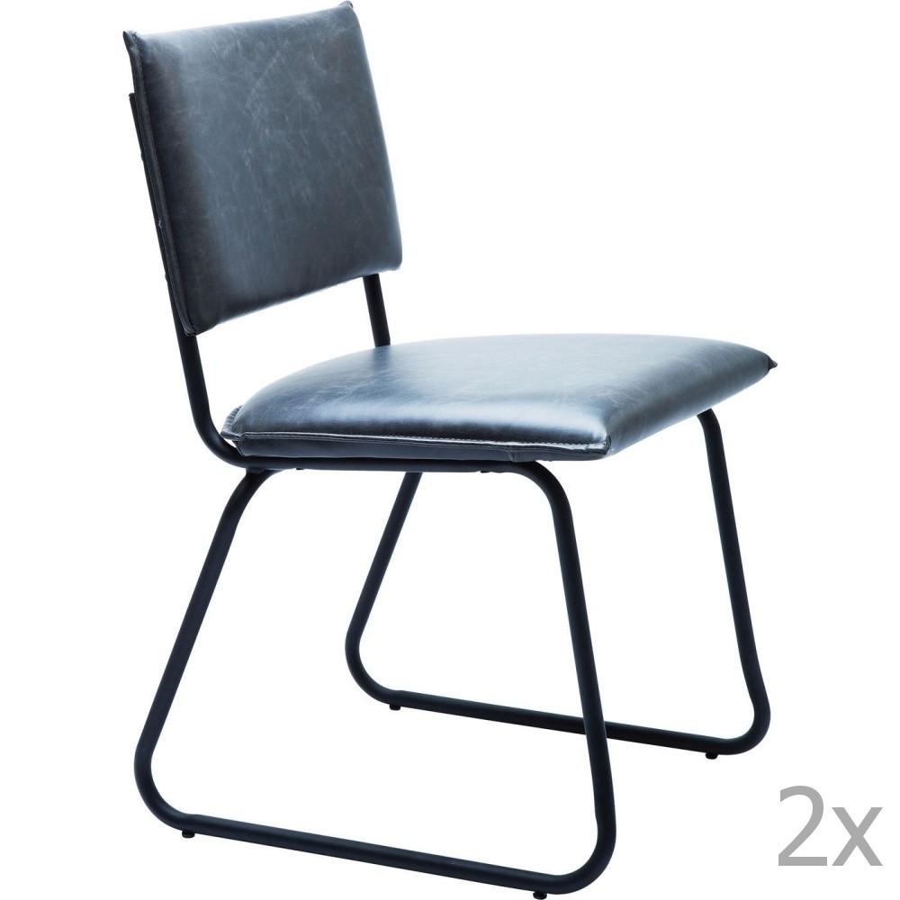 Sada 2 čiernych jedálenských stoličiek Kare Design Duran