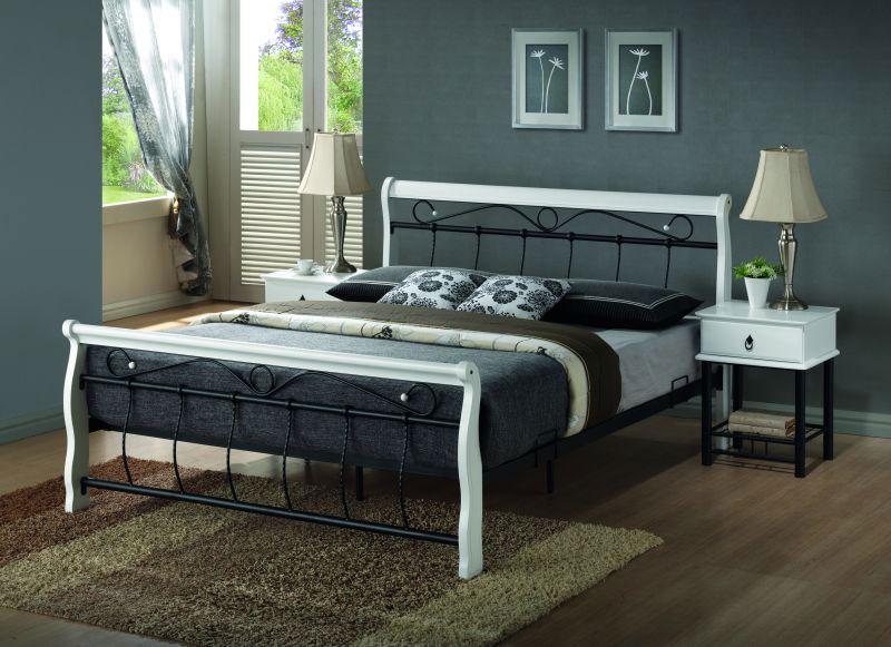 BENÁTKY posteľ 160x200 cm, biela/čierna
