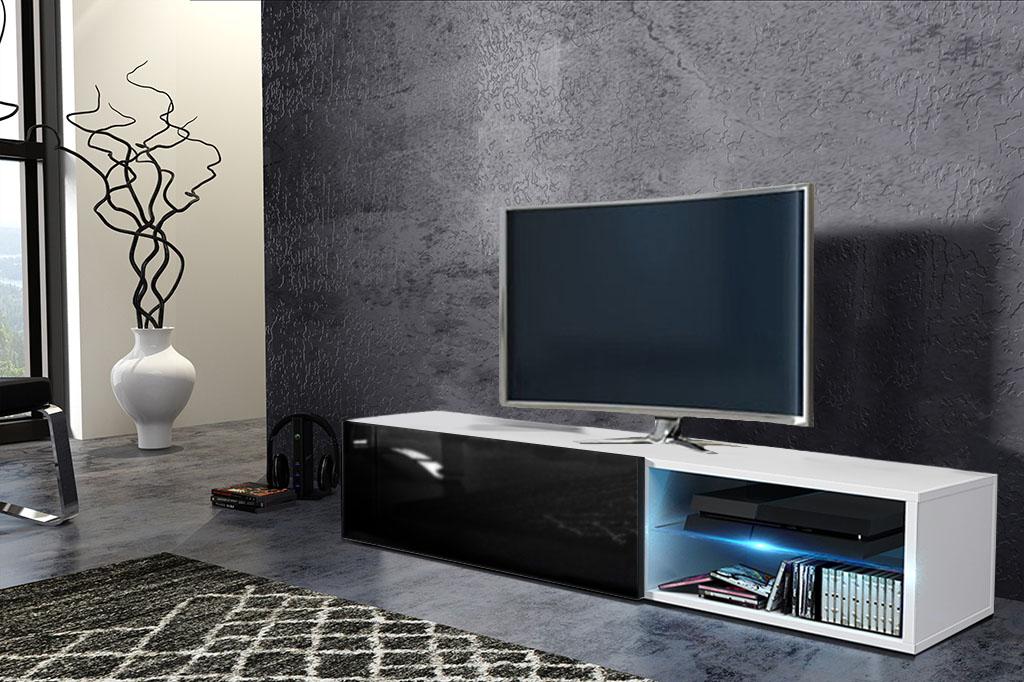 TV stolík/skrinka Best (biela + lesk čierny)
