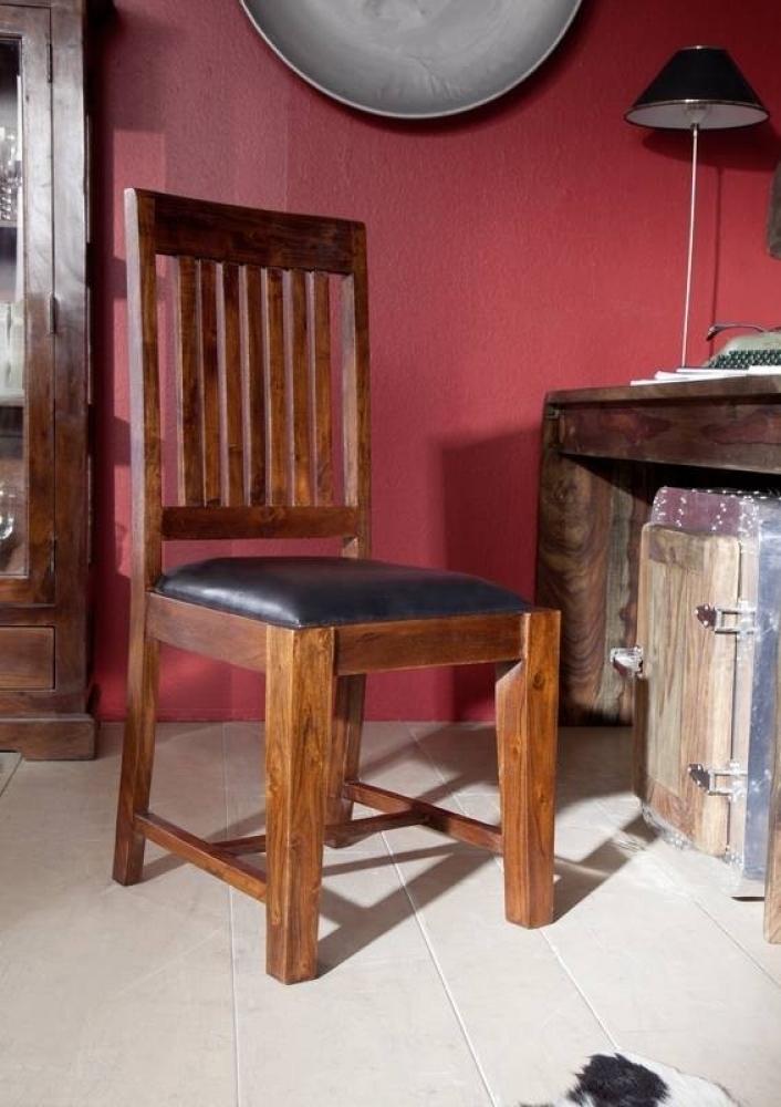 OXFORD #15 Kolonialer stolička s čalúnením, masívne agátové drevo, čierna
