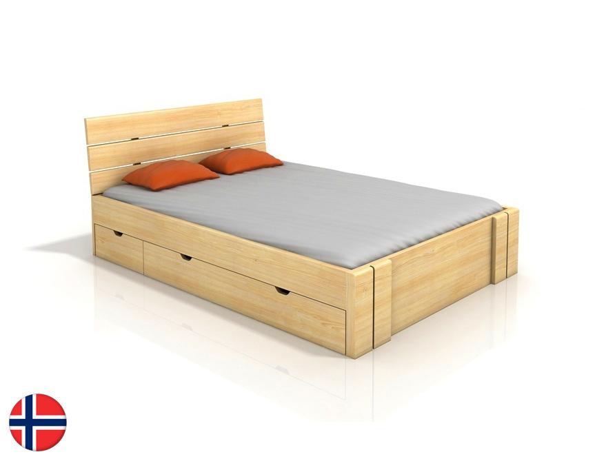 Manželská posteľ 180 cm Naturlig Tosen High Drawers (borovica) (s roštom)