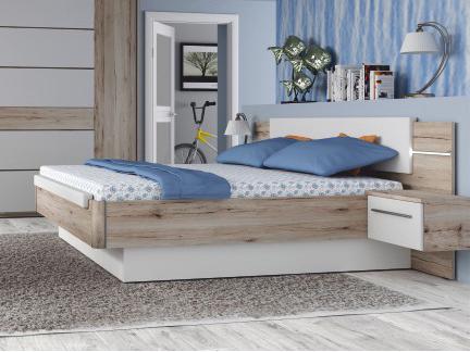 Manželská posteľ 180 cm Canbera (dub begramo + biely lesk)