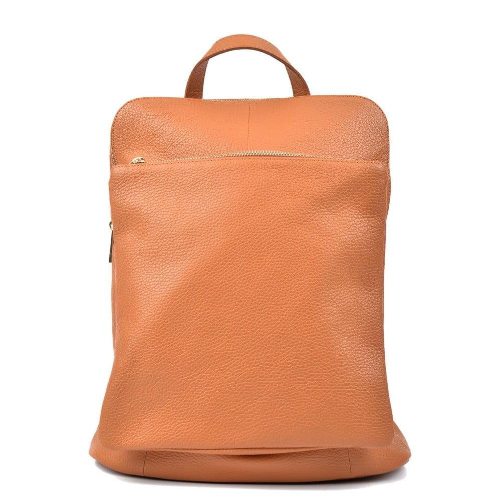 Svetlokoňakovo hnedý kožený batoh Isabella Rhea Carrie