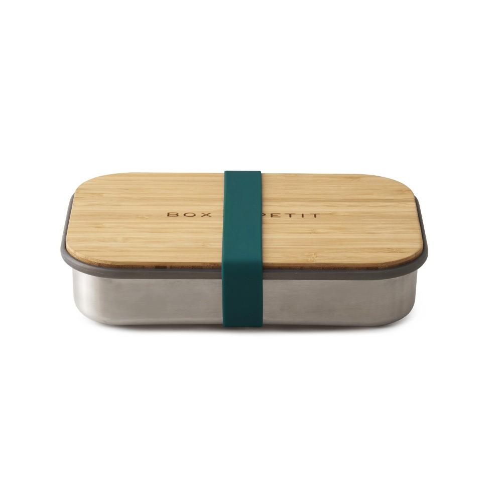 Modrý antikoro desiatový box s bambusovým vekom Black Blum Bamboo