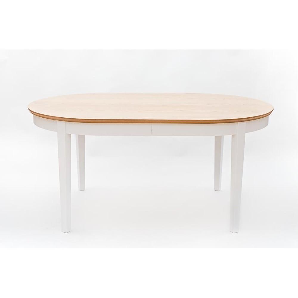 Biely rozkladací jedálenský stôl s detailmi z dubovej dyhy Wermo Family, 165 - 215×105cm