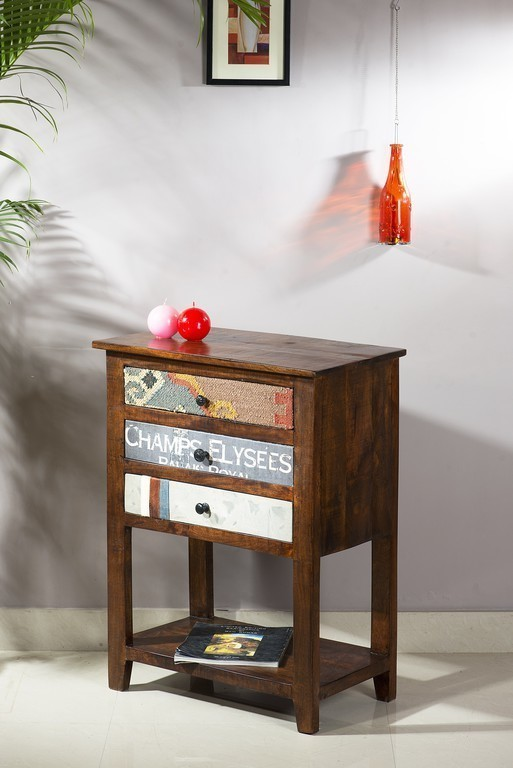Telefónny stolík WOODY 60 cm  - hnedá