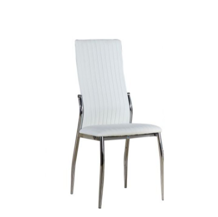 Stolička, ekokoža biela/chróm, MALISA