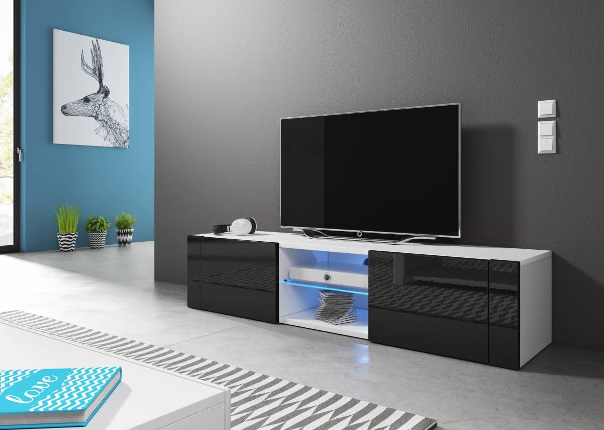 TV stolík/skrinka Hit (čierny lesk + biela matná)