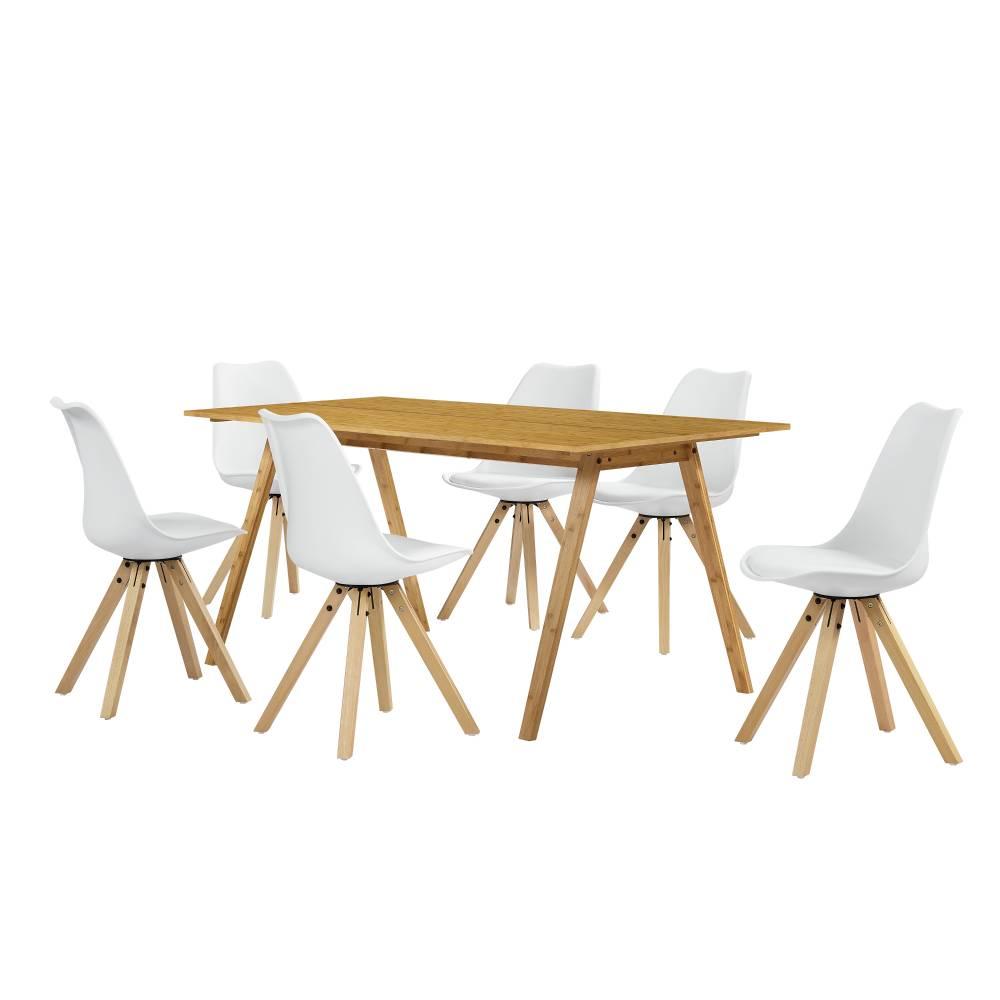[sk.casa]® Dizajnový bambusový jedálenský stôl - 180 x 80 cm - bambus - so 6 bielymi stoličkami