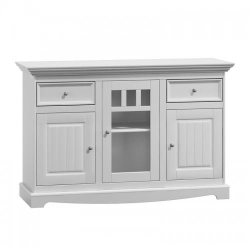 Biely nábytok Komoda Belluno Elegante, 3-dverová, biela, masív, borovica