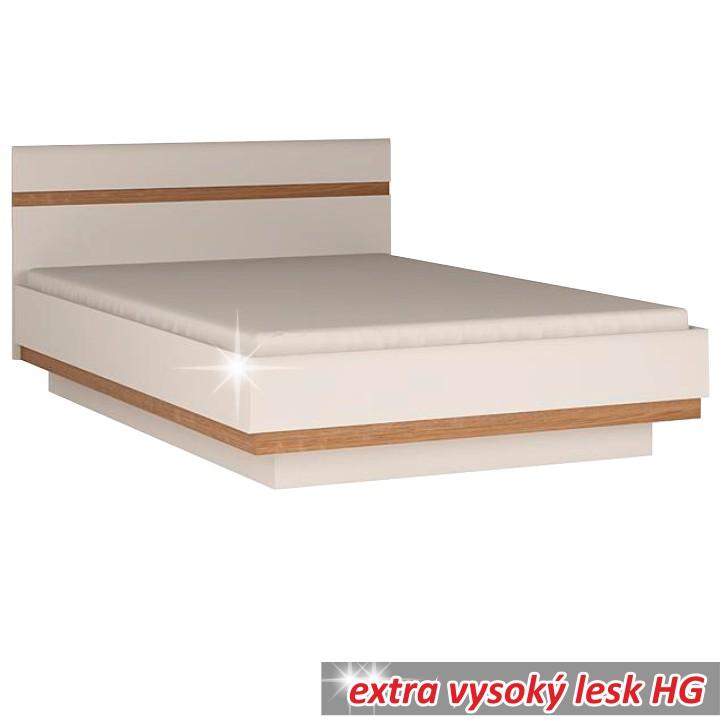TEMPO KONDELA LYNATET 93 manželská posteľ - biela / biely vysoký lesk / dub sonoma truflový