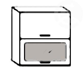 W60OK SP dvojitá výklopná skrinka s dvierkami a sklom MERKURY