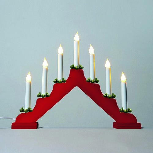 Adventný svietnik s ťahanou žiarovkou LED Filament, červená