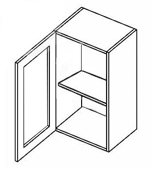 W40W CZ P/L horná vitrína 1-dverová - číre sklo, vhodná ku kuchyni PREMIUM