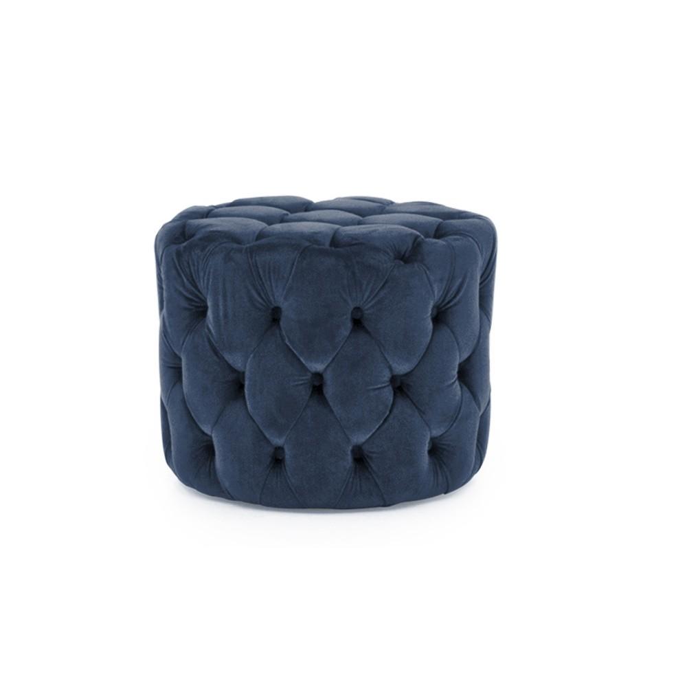 Modrá podnožka zo zamatovým poťahom VIDA Living Perkins, ø 55 cm