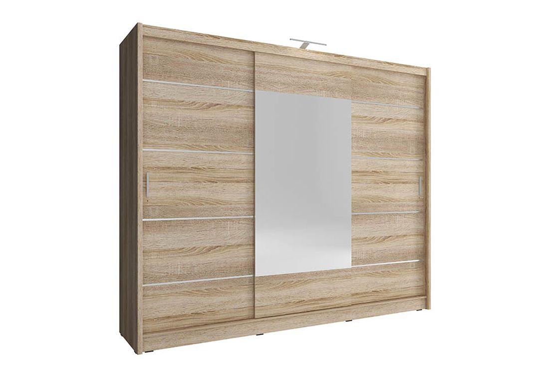 Šatníková skriňa WHITNEY 250 ALU, + LED, 62x214x250 cm, dub sonoma